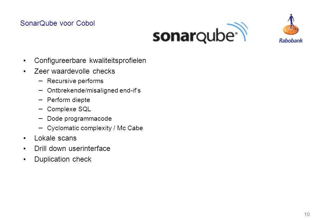 10 SonarQube voor Cobol Configureerbare kwaliteitsprofielen Zeer waardevolle checks − Recursive performs − Ontbrekende/misaligned end-if's − Perform d