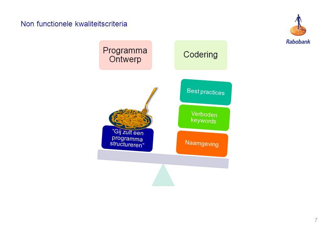 8 Non functionele kwaliteitscriteria Programma Ontwerp Codering Naamgeving Verboden keywords Best practices Gij zult een programma structureren SIG/SonarVSP