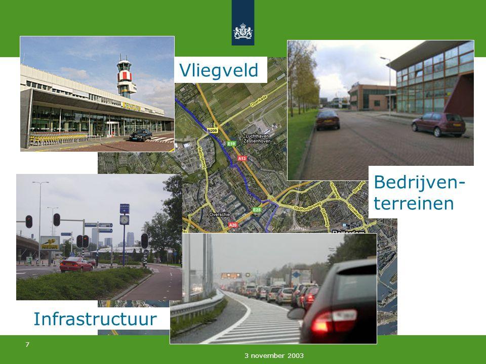 8 3 november 2003 Infrastructuur Vliegveld Bedrijven- terreinen Kassen