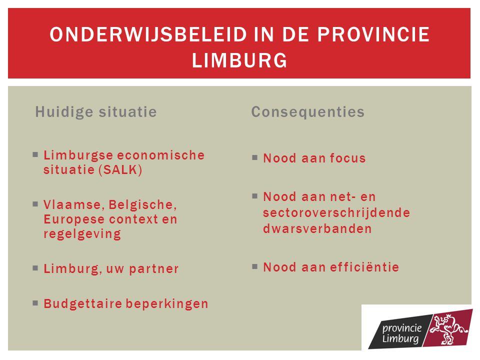 Huidige situatie  Limburgse economische situatie (SALK)  Vlaamse, Belgische, Europese context en regelgeving  Limburg, uw partner  Budgettaire bep