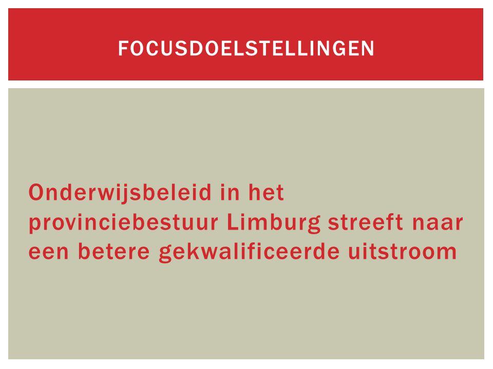 Onderwijsbeleid in het provinciebestuur Limburg streeft naar een betere gekwalificeerde uitstroom FOCUSDOELSTELLINGEN