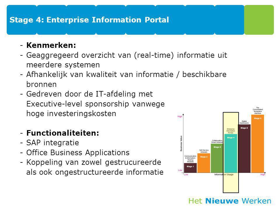 Stage 4: Enterprise Information Portal -Kenmerken: -Geaggregeerd overzicht van (real-time) informatie uit meerdere systemen -Afhankelijk van kwaliteit