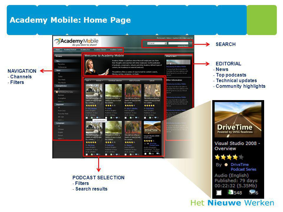Academy Mobile: Home Page PODCAST SELECTION - Filters - Search results EDITORIAL - News - Top podcasts - Technical updates - Community highlights NAVI