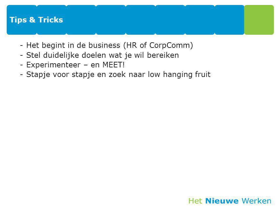 Tips & Tricks -Het begint in de business (HR of CorpComm) -Stel duidelijke doelen wat je wil bereiken -Experimenteer – en MEET! -Stapje voor stapje en