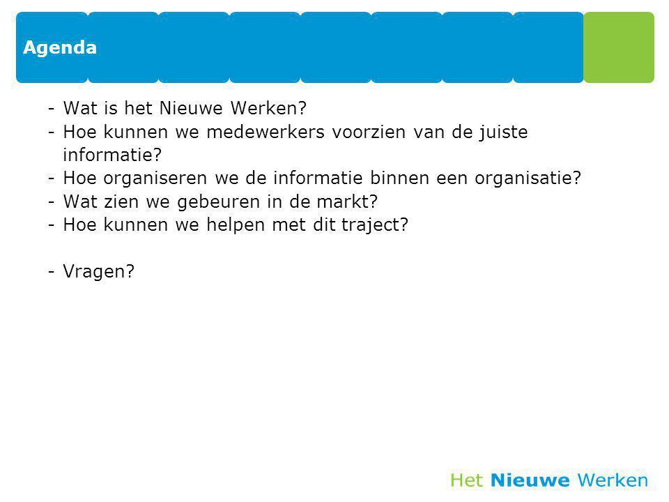 Agenda -Wat is het Nieuwe Werken? -Hoe kunnen we medewerkers voorzien van de juiste informatie? -Hoe organiseren we de informatie binnen een organisat
