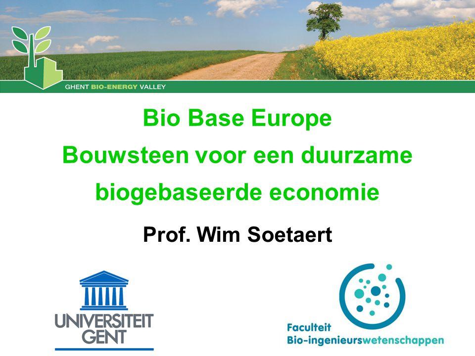 Bio Base Europe Bouwsteen voor een duurzame biogebaseerde economie Prof. Wim Soetaert