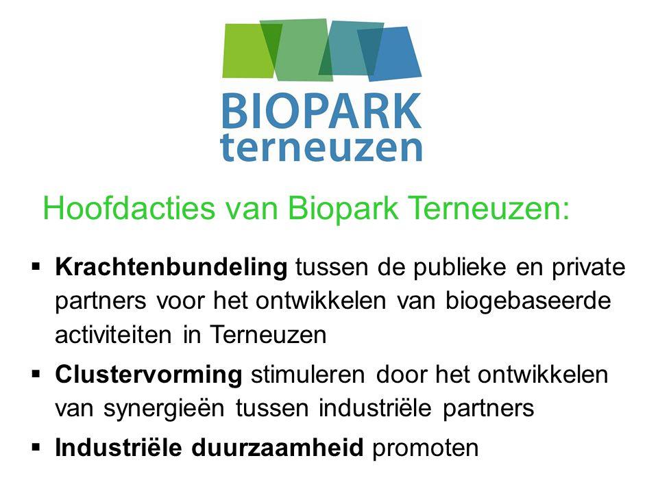 Hoofdacties van Biopark Terneuzen:  Krachtenbundeling tussen de publieke en private partners voor het ontwikkelen van biogebaseerde activiteiten in Terneuzen  Clustervorming stimuleren door het ontwikkelen van synergieën tussen industriële partners  Industriële duurzaamheid promoten
