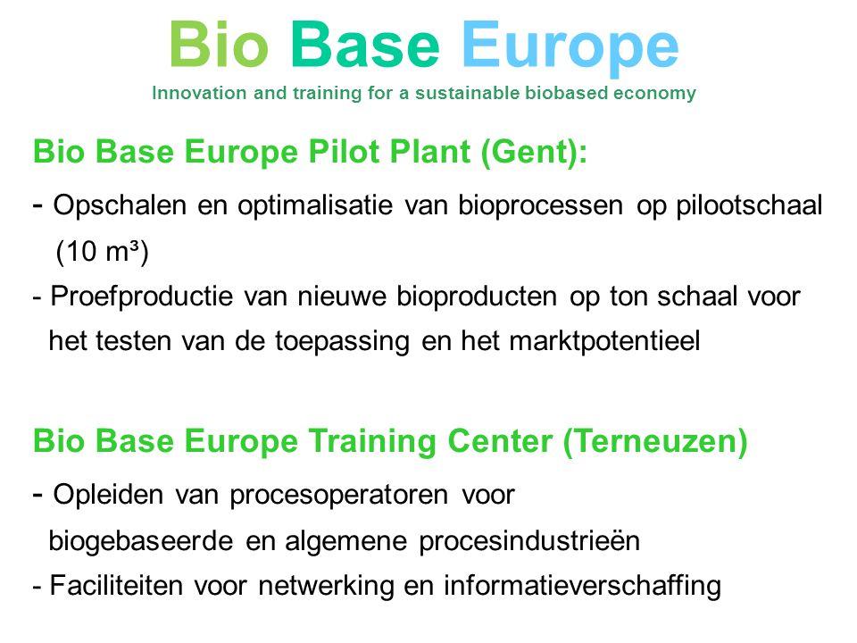 Bio Base Europe Pilot Plant (Gent): - Opschalen en optimalisatie van bioprocessen op pilootschaal (10 m³) - Proefproductie van nieuwe bioproducten op ton schaal voor het testen van de toepassing en het marktpotentieel Bio Base Europe Training Center (Terneuzen) - Opleiden van procesoperatoren voor biogebaseerde en algemene procesindustrieën - Faciliteiten voor netwerking en informatieverschaffing Bio Base Europe Innovation and training for a sustainable biobased economy