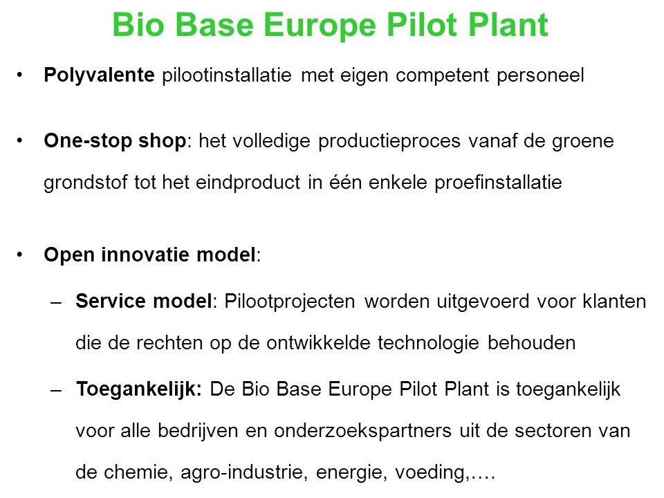 Bio Base Europe Pilot Plant Polyvalente pilootinstallatie met eigen competent personeel One-stop shop: het volledige productieproces vanaf de groene grondstof tot het eindproduct in één enkele proefinstallatie Open innovatie model: –Service model: Pilootprojecten worden uitgevoerd voor klanten die de rechten op de ontwikkelde technologie behouden –Toegankelijk: De Bio Base Europe Pilot Plant is toegankelijk voor alle bedrijven en onderzoekspartners uit de sectoren van de chemie, agro-industrie, energie, voeding,….
