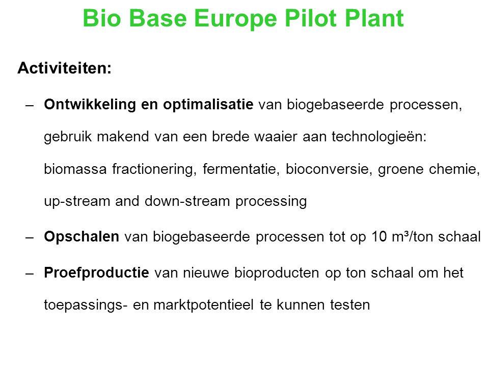 Bio Base Europe Pilot Plant Activiteiten: –Ontwikkeling en optimalisatie van biogebaseerde processen, gebruik makend van een brede waaier aan technologieën: biomassa fractionering, fermentatie, bioconversie, groene chemie, up-stream and down-stream processing –Opschalen van biogebaseerde processen tot op 10 m³/ton schaal –Proefproductie van nieuwe bioproducten op ton schaal om het toepassings- en marktpotentieel te kunnen testen