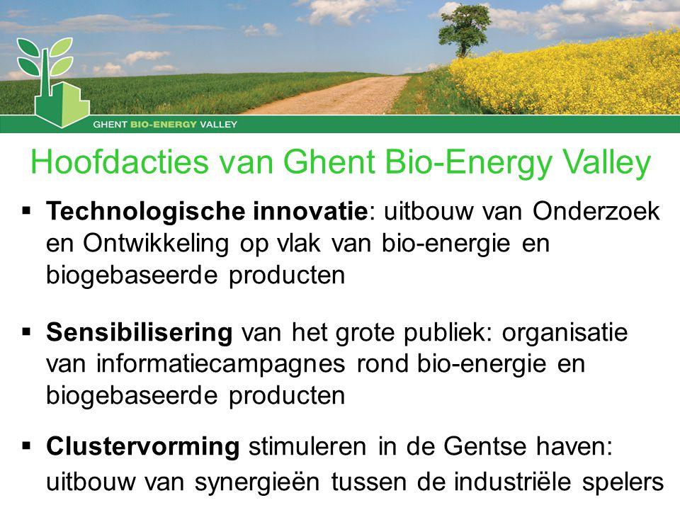  Technologische innovatie: uitbouw van Onderzoek en Ontwikkeling op vlak van bio-energie en biogebaseerde producten  Sensibilisering van het grote publiek: organisatie van informatiecampagnes rond bio-energie en biogebaseerde producten  Clustervorming stimuleren in de Gentse haven: uitbouw van synergieën tussen de industriële spelers Hoofdacties van Ghent Bio-Energy Valley