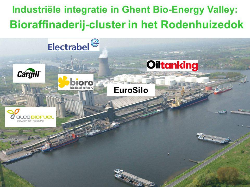 Bioraffinaderij Rodenhuize dok: Het grootste geïntegreerd productiecomplex voor biobrandstoffen van Europa 250.000 ton biodiesel 150.000 m³ bio-ethanol 80 180 MW bio-electriciteit