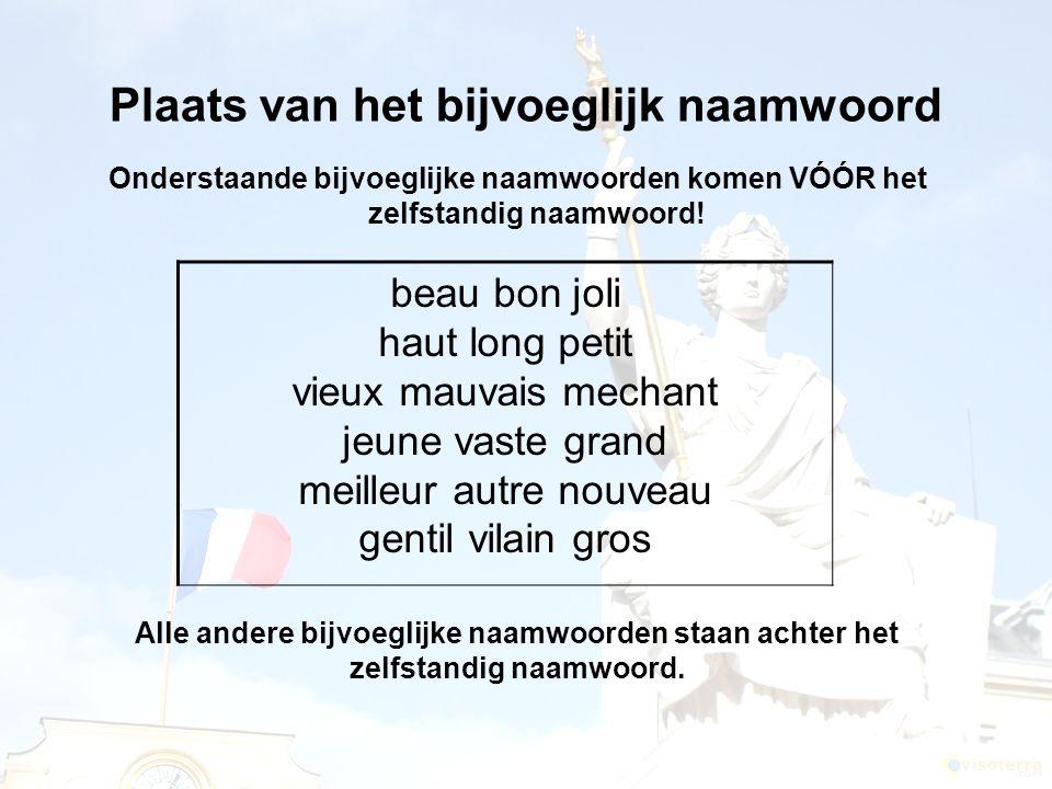 Plaats van het bijvoeglijk naamwoord Onderstaande bijvoeglijke naamwoorden komen VÓÓR het zelfstandig naamwoord! beau bon joli haut long petit vieux m