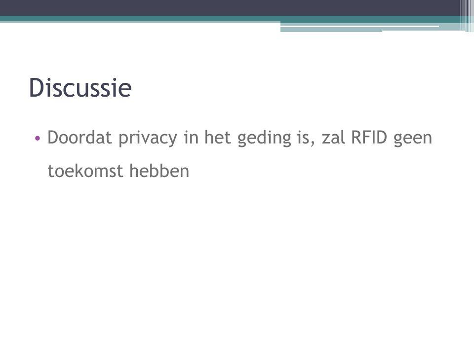 Discussie Doordat privacy in het geding is, zal RFID geen toekomst hebben