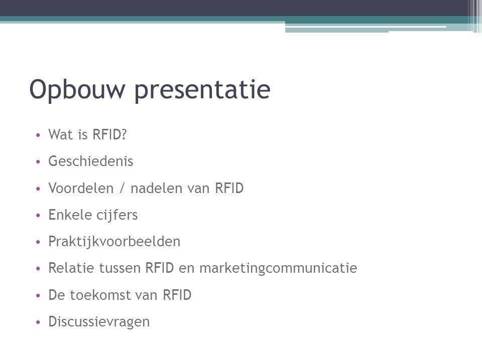 Opbouw presentatie Wat is RFID? Geschiedenis Voordelen / nadelen van RFID Enkele cijfers Praktijkvoorbeelden Relatie tussen RFID en marketingcommunica