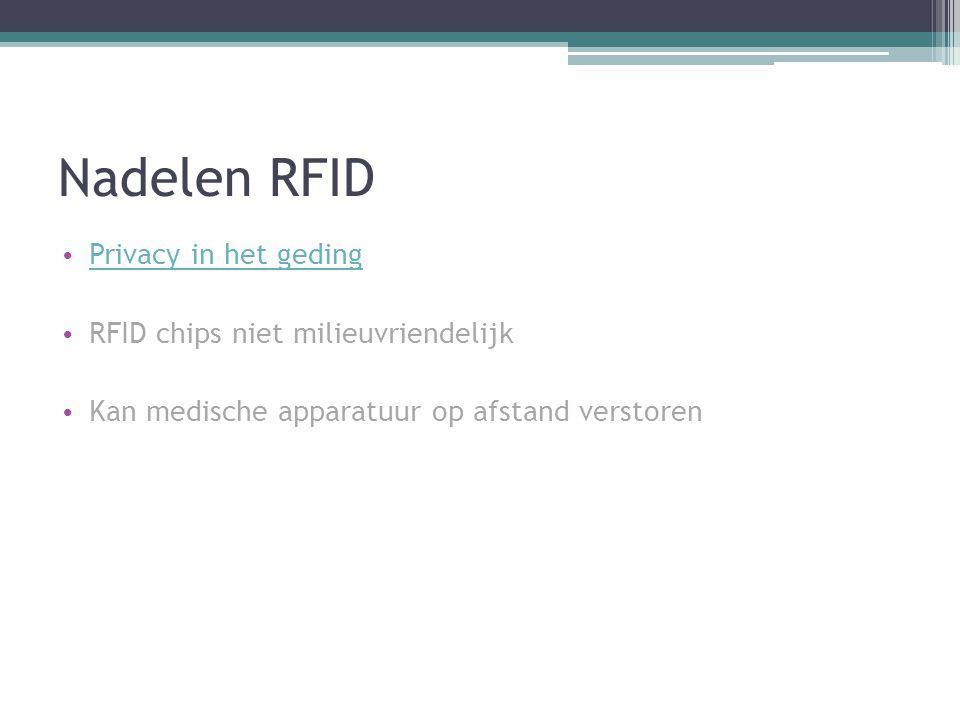 Nadelen RFID Privacy in het geding RFID chips niet milieuvriendelijk Kan medische apparatuur op afstand verstoren