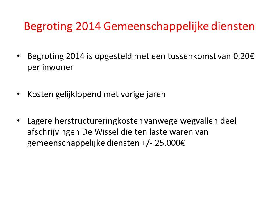 Begroting 2014 is opgesteld met een tussenkomst van 0,20€ per inwoner Kosten gelijklopend met vorige jaren Lagere herstructureringkosten vanwege wegva