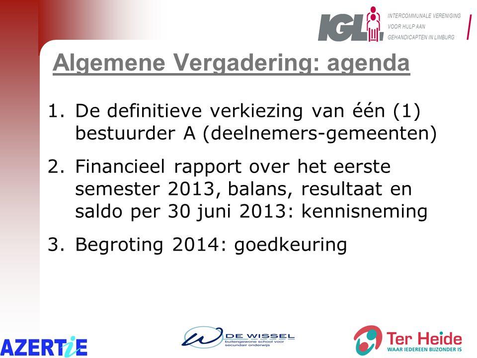 Algemene Vergadering: agenda 1.De definitieve verkiezing van één (1) bestuurder A (deelnemers-gemeenten) 2.Financieel rapport over het eerste semester