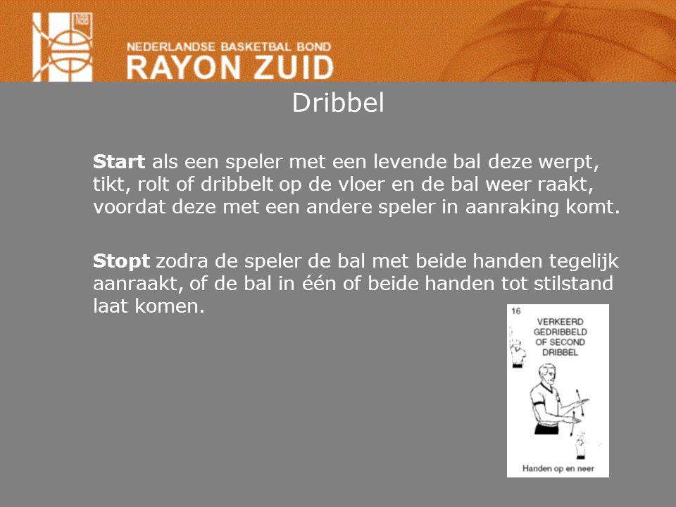 Dribbel Start als een speler met een levende bal deze werpt, tikt, rolt of dribbelt op de vloer en de bal weer raakt, voordat deze met een andere spel