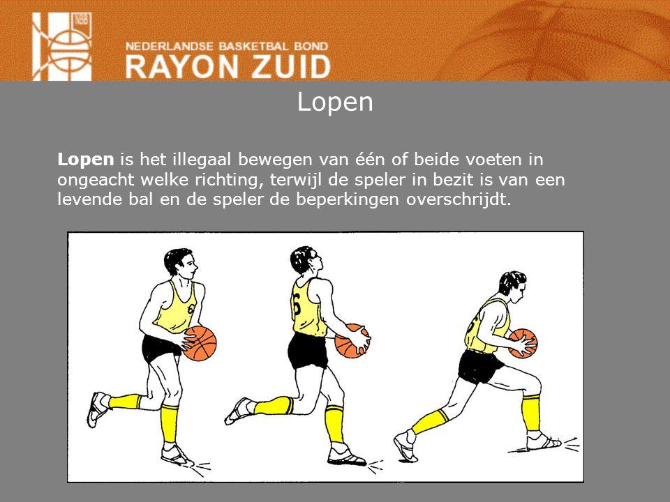 Lopen Lopen is het illegaal bewegen van één of beide voeten in ongeacht welke richting, terwijl de speler in bezit is van een levende bal en de speler