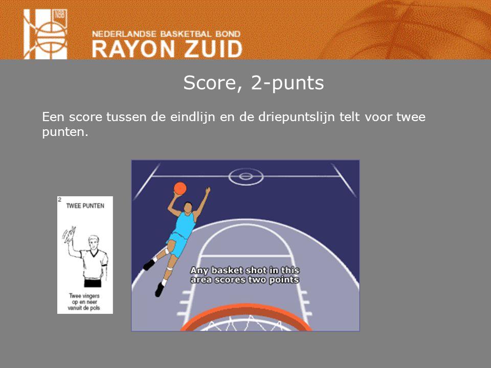 Score, 2-punts Een score tussen de eindlijn en de driepuntslijn telt voor twee punten.