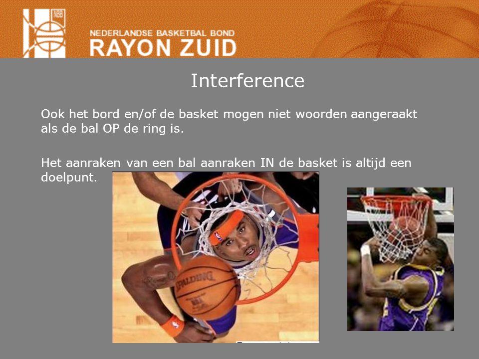 Interference Ook het bord en/of de basket mogen niet woorden aangeraakt als de bal OP de ring is. Het aanraken van een bal aanraken IN de basket is al