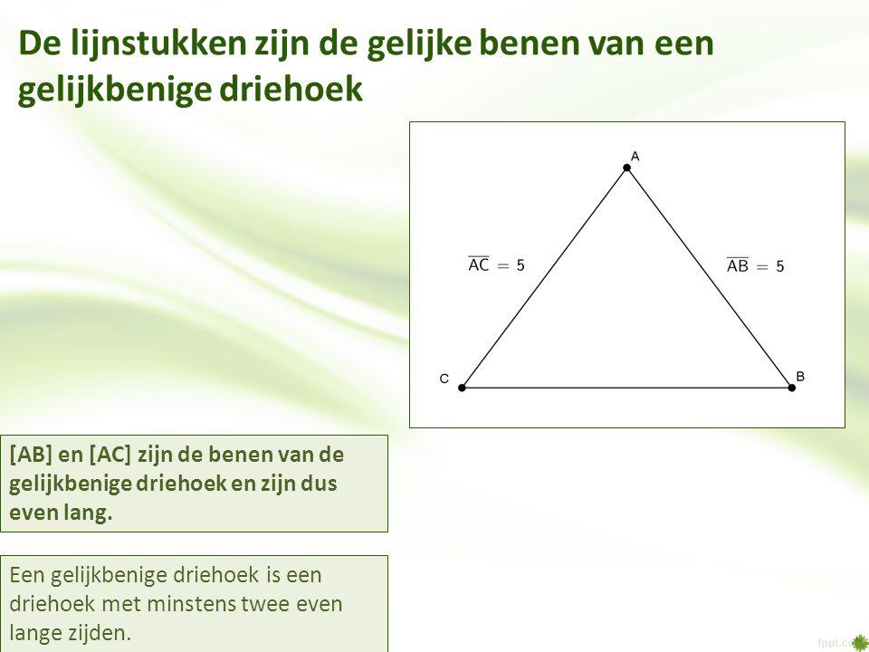 De lijnstukken zijn de gelijke benen van een gelijkbenige driehoek Een gelijkbenige driehoek is een driehoek met minstens twee even lange zijden. [AB]