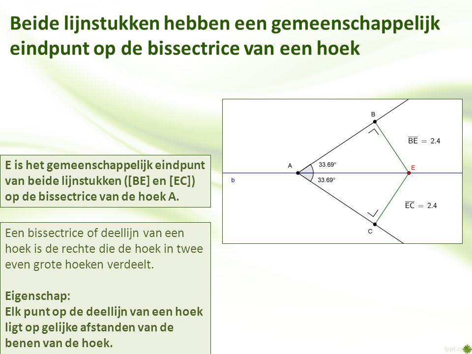Beide lijnstukken hebben een gemeenschappelijk eindpunt op de bissectrice van een hoek Een bissectrice of deellijn van een hoek is de rechte die de ho