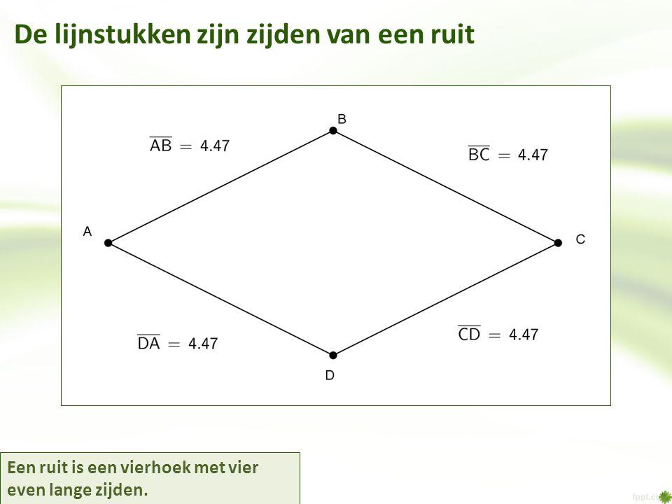 De lijnstukken zijn zijden van een ruit Een ruit is een vierhoek met vier even lange zijden.