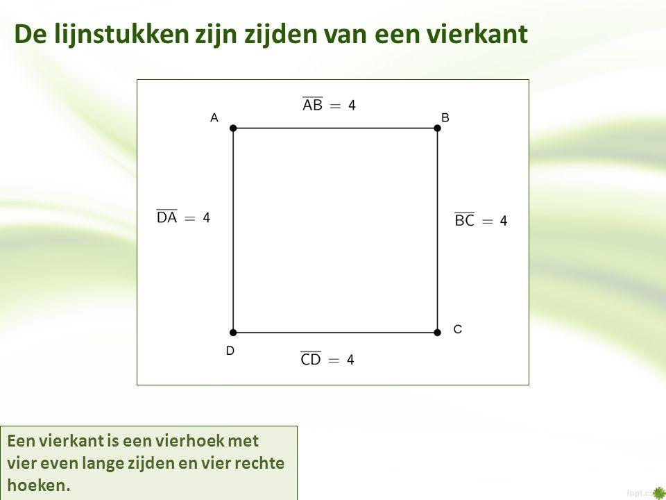 De lijnstukken zijn zijden van een vierkant Een vierkant is een vierhoek met vier even lange zijden en vier rechte hoeken.