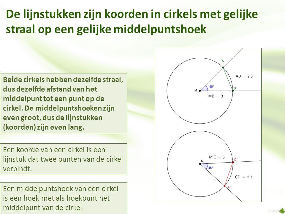 De lijnstukken zijn koorden in cirkels met gelijke straal op een gelijke middelpuntshoek Een middelpuntshoek van een cirkel is een hoek met als hoekpu