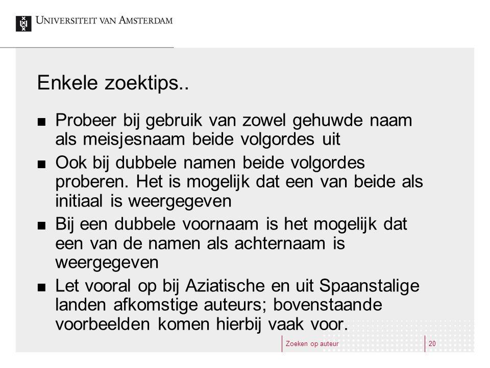 Zoeken op auteur20 Enkele zoektips..