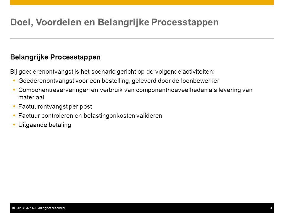 ©2013 SAP AG. All rights reserved.3 Doel, Voordelen en Belangrijke Processtappen Belangrijke Processtappen Bij goederenontvangst is het scenario geric