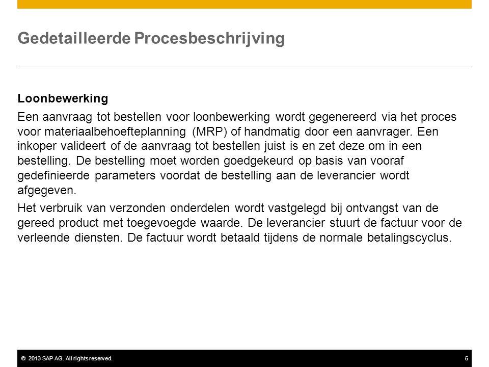 ©2013 SAP AG. All rights reserved.5 Gedetailleerde Procesbeschrijving Loonbewerking Een aanvraag tot bestellen voor loonbewerking wordt gegenereerd vi
