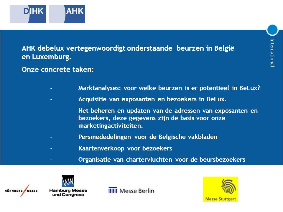 AHK debelux vertegenwoordigt onderstaande beurzen in België en Luxemburg. Onze concrete taken: - Marktanalyses: voor welke beurzen is er potentieel in