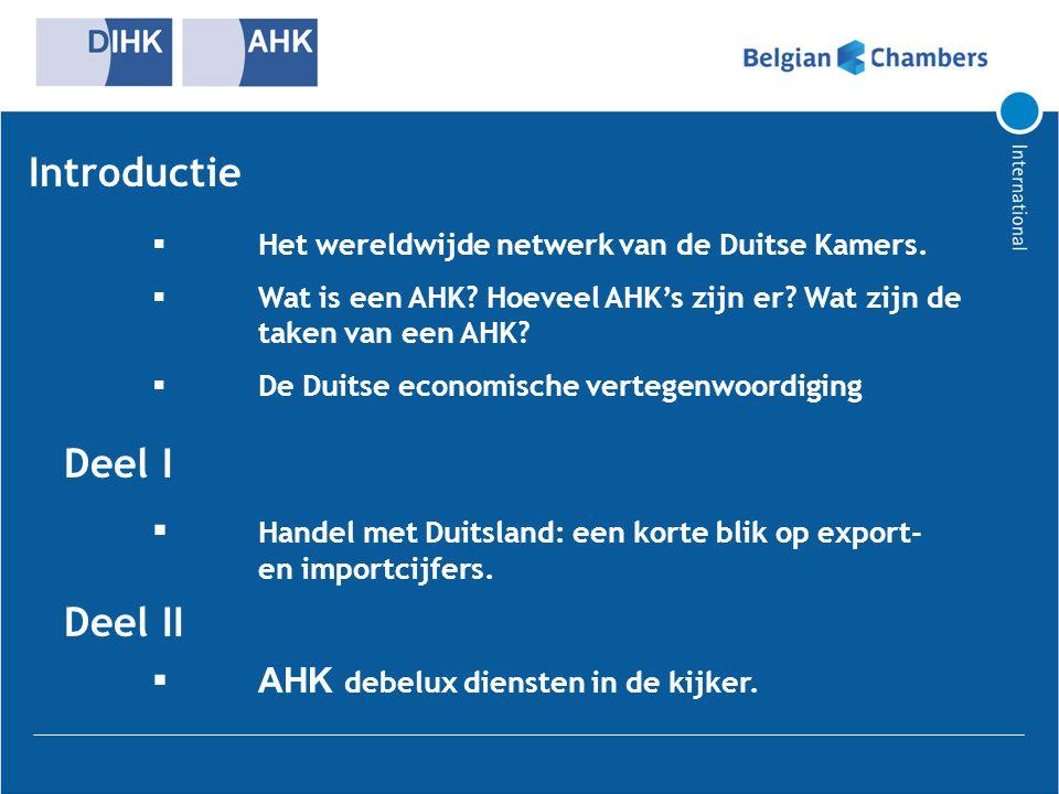 Introductie  Het wereldwijde netwerk van de Duitse Kamers.  Wat is een AHK? Hoeveel AHK's zijn er? Wat zijn de taken van een AHK?  De Duitse econom