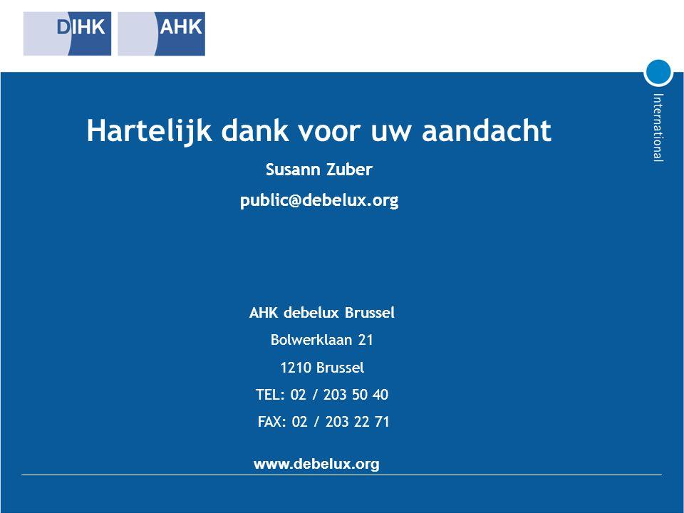 Hartelijk dank voor uw aandacht Susann Zuber public@debelux.org AHK debelux Brussel Bolwerklaan 21 1210 Brussel TEL: 02 / 203 50 40 FAX: 02 / 203 22 7