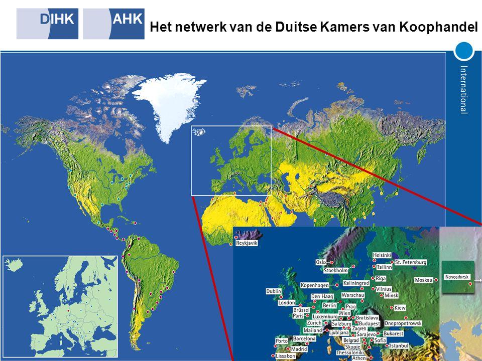 AHK- bureaus in de wereld 120 AHK kantoren wereldwijd 42.000 leden 1.700 medewerkers wereldwijd Totale omzet: 110 miljoen EUR
