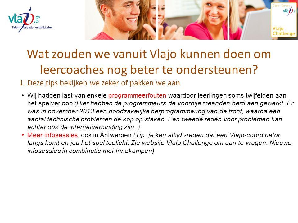 Wat zouden we vanuit Vlajo kunnen doen om leercoaches nog beter te ondersteunen? 1. Deze tips bekijken we zeker of pakken we aan Wij hadden last van e