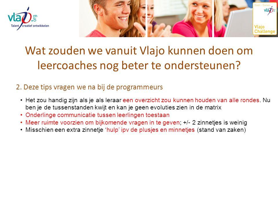 Wat zouden we vanuit Vlajo kunnen doen om leercoaches nog beter te ondersteunen? 2. Deze tips vragen we na bij de programmeurs Het zou handig zijn als
