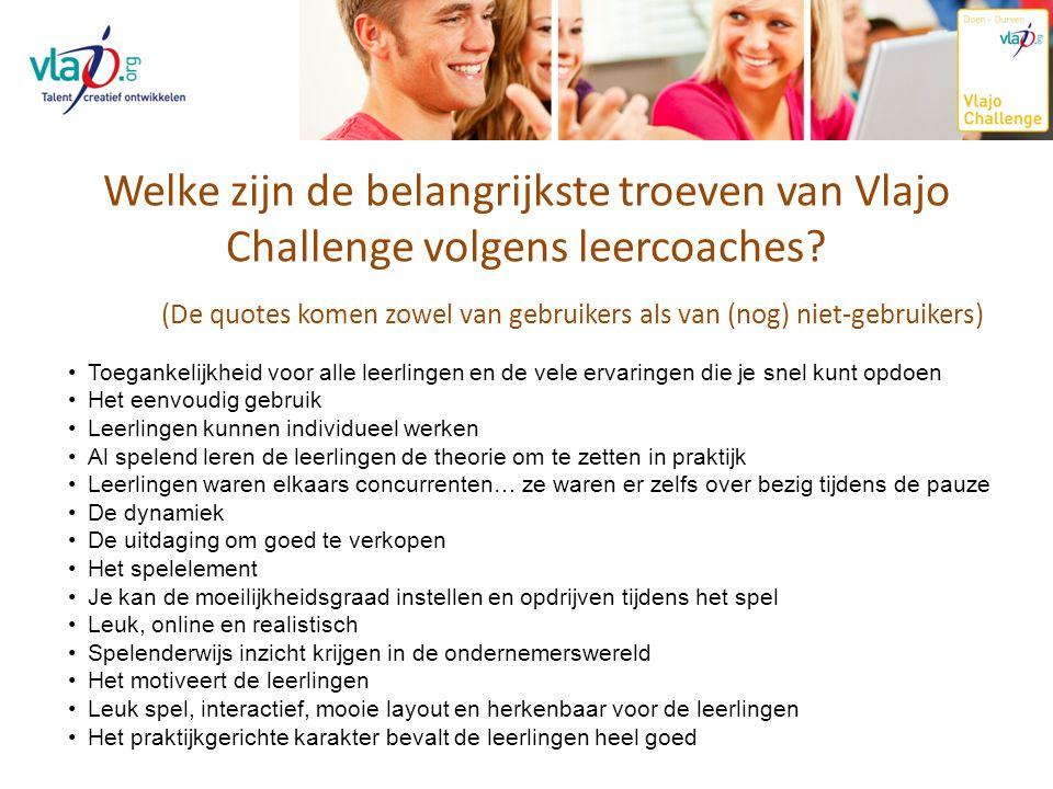 Welke zijn de belangrijkste troeven van Vlajo Challenge volgens leercoaches? Toegankelijkheid voor alle leerlingen en de vele ervaringen die je snel k