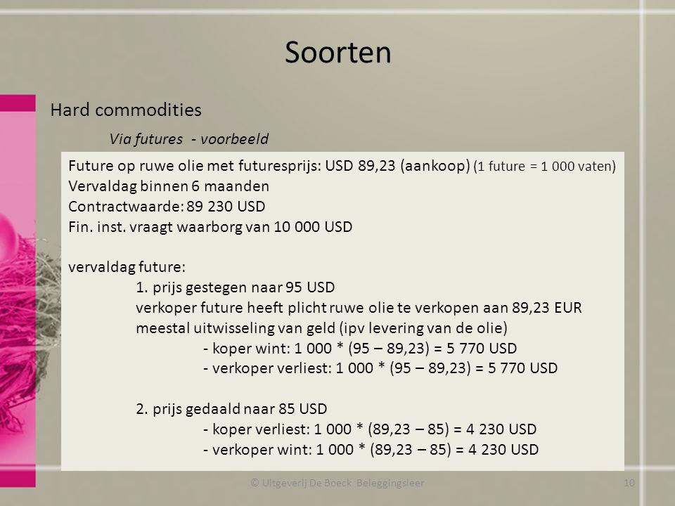 Soorten Hard commodities Via futures - voorbeeld © Uitgeverij De Boeck Beleggingsleer Future op ruwe olie met futuresprijs: USD 89,23 (aankoop) (1 fut