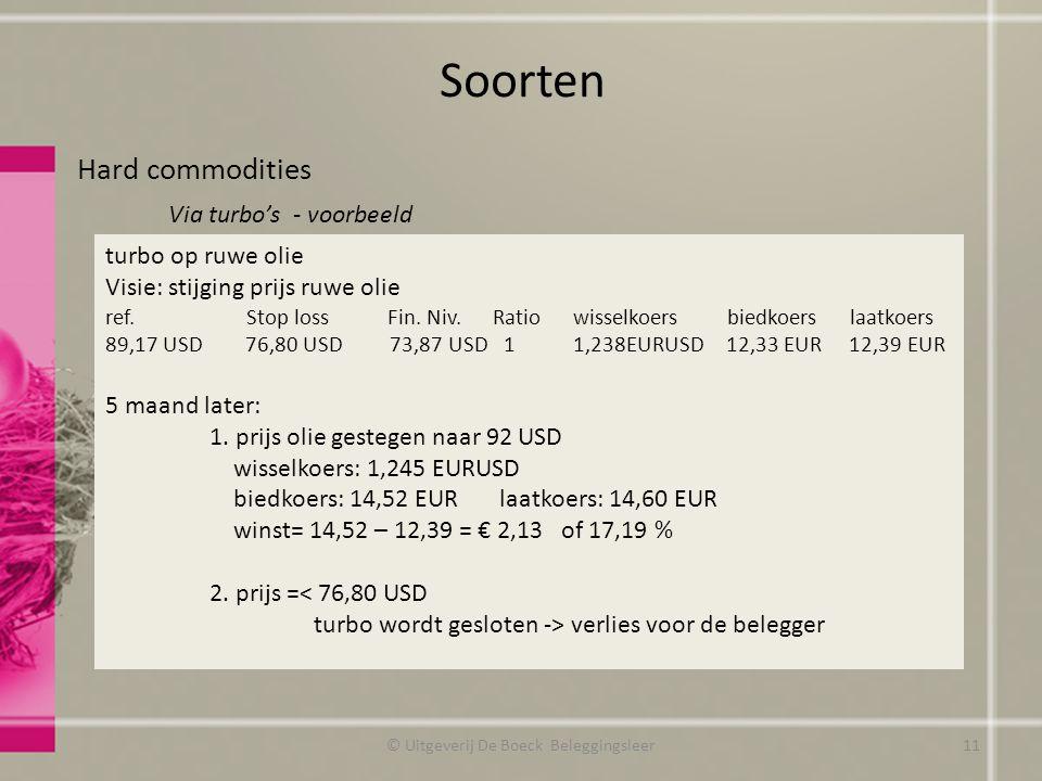 Soorten Hard commodities Via turbo's - voorbeeld © Uitgeverij De Boeck Beleggingsleer turbo op ruwe olie Visie: stijging prijs ruwe olie ref. Stop los