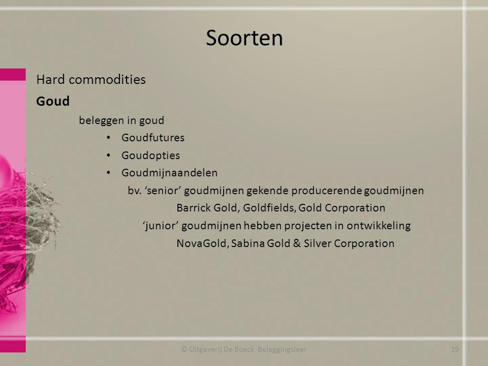 Soorten Hard commodities Goud beleggen in goud Goudfutures Goudopties Goudmijnaandelen bv. 'senior' goudmijnen gekende producerende goudmijnen Barrick