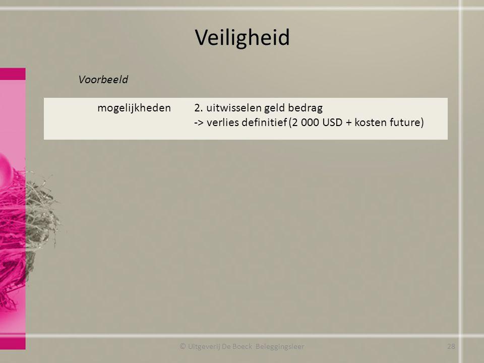 Veiligheid Voorbeeld © Uitgeverij De Boeck Beleggingsleer mogelijkheden2. uitwisselen geld bedrag -> verlies definitief (2 000 USD + kosten future) 28