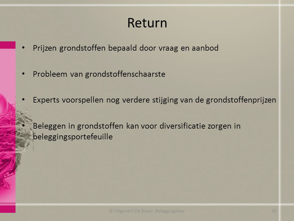 Return Prijzen grondstoffen bepaald door vraag en aanbod Probleem van grondstoffenschaarste Experts voorspellen nog verdere stijging van de grondstoff