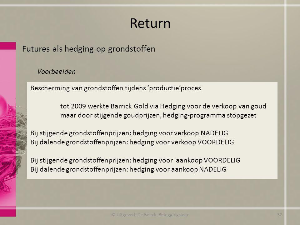 Return Futures als hedging op grondstoffen Voorbeelden © Uitgeverij De Boeck Beleggingsleer Bescherming van grondstoffen tijdens 'productie'proces tot
