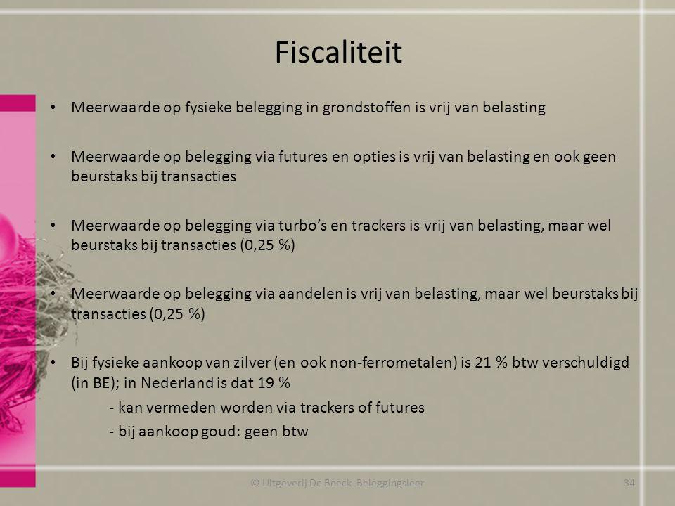 Fiscaliteit Meerwaarde op fysieke belegging in grondstoffen is vrij van belasting Meerwaarde op belegging via futures en opties is vrij van belasting