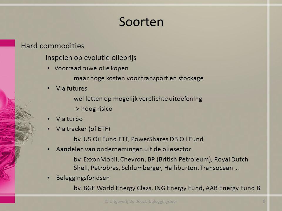 Soorten Hard commodities inspelen op evolutie olieprijs Voorraad ruwe olie kopen maar hoge kosten voor transport en stockage Via futures wel letten op