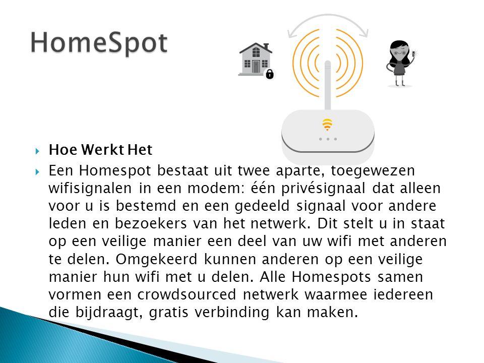  Hoe Werkt Het  Een Homespot bestaat uit twee aparte, toegewezen wifisignalen in een modem: één privésignaal dat alleen voor u is bestemd en een ged